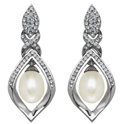 Sterling Silver Freshwater Cultured Pearl Framed Drop Earrings MADE WITH SWAROVSKI® ELEMENTS