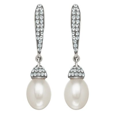 Sterling Silver Freshwater Cultured Pearl Linear Drop Earrings MADE WITH SWAROVSKI® ELEMENTS