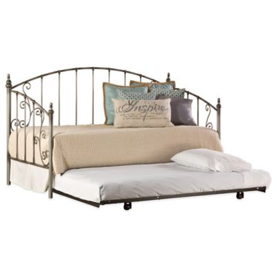 Hillsdale Ivy Daybed with Suspension Deck and Roll-Out Trundle in Aged Pewter