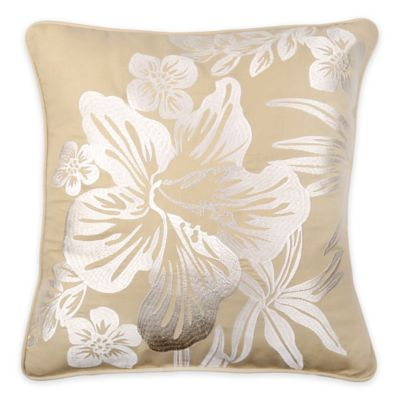 Tommy Bahama® Hanalie Hibiscus Square Throw Pillow in Neutral