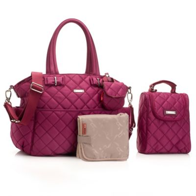 Storksak® 3-Piece Bobby Quilted Bag Set in Magenta