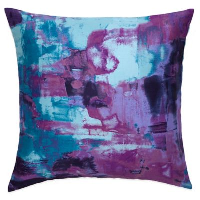 Amy Sia Midnight Storm Oceans Square Throw Pillow in Blue