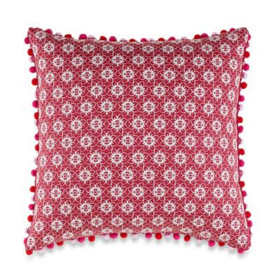 Anthology™ Kaya Pom-Pom Oblong Throw Pillow in Berry