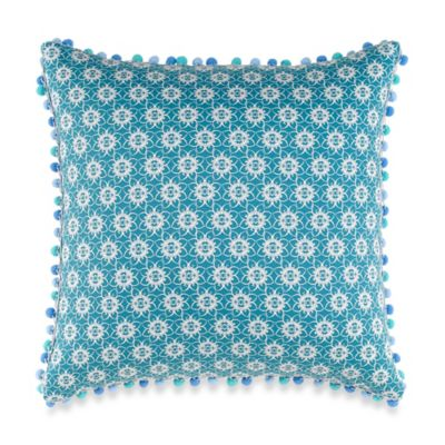 Anthology™ Kaya Pom-Pom Oblong Throw Pillow in Blue