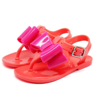 Stepping Stones Jelly Thong Sandal with Bow in Fuchsia/Coral