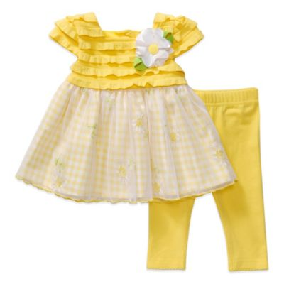 Sweet Heart Rose® Size 24M 2-Piece Gingham Dress and Legging Set in Yellow