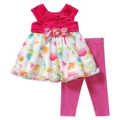 Sweet Heart Rose® Size 24M 2-Piece Floral Dress and Legging Set in Fuchsia