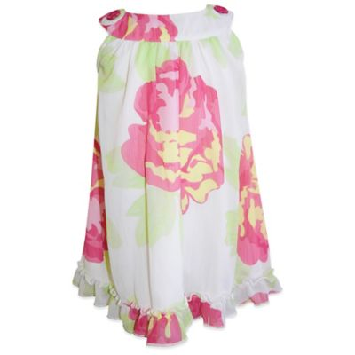 Blueberi Boulevard Size 3T Chiffon Sleeveless Dress with Rose Floral on White