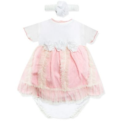 Wendy Bellissimo™ Size 3M 3-Piece Dress, Panty, and Headband Set in Ivory/Pink