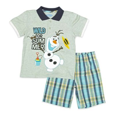"Disney® ""Frozen"" Size 3T 2-Piece Olaf ""Wild for Summer"" Polo Shirt and Plaid Short Set"