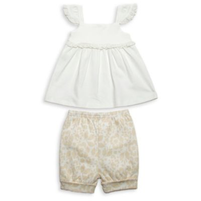 Rosie Pope Size 24M 2-Piece Ruffle Tank and Short Set in Ivory/Gold