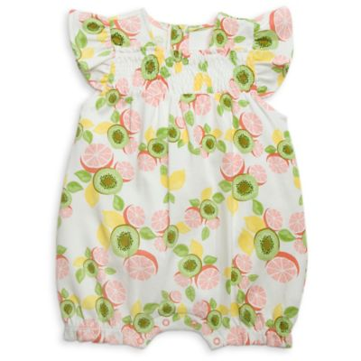 Rosie Pope Baby Size 18M Smocked Bubble Print Romper in Kiwi Grapefruit