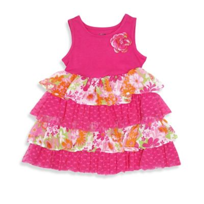 Nannette Baby® Size 12M Floral Sleeveless Dress in Fuchsia