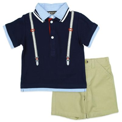 Boyz Wear Size 3T 2-Piece Mock Suspender Polo Shirt and Short Set in Navy
