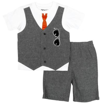 Boyz Wear Size 18M 2-Piece Mock Vest and Short Set in Grey/White