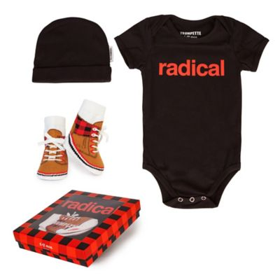 "Trumpette Size 6-12M 3-Piece ""Radical"" Bodysuit, Hat & Socks Gift Set in Red/Black"