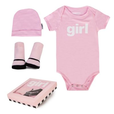 "Trumpette Size 6-12M 3-Piece ""Girl"" Bodysuit, Hat & Socks Gift Set in Pink"