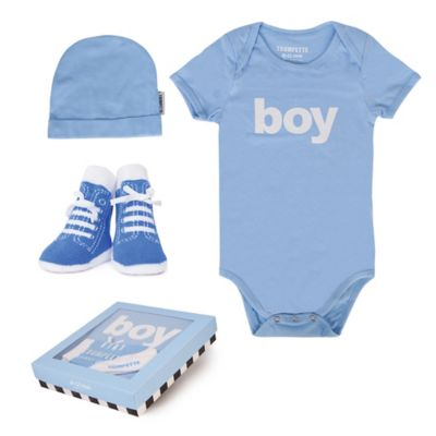 "Trumpette Size 6-12M 3-Piece ""Boy"" Bodysuit, Hat & Socks Gift Set in Blue"
