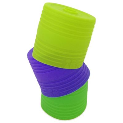Silikids® Siliskin® 3-Pack Reusable Silicone Straw Tops in Green/Purple