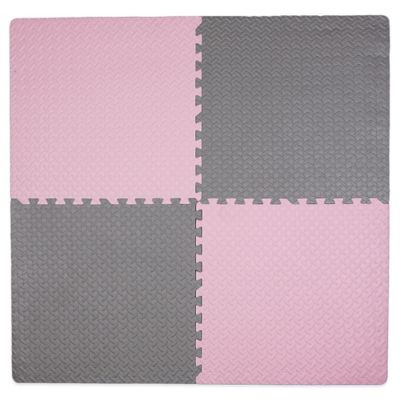 Tadpoles 4-Piece Steel Plate Play Mat in Pink/Grey