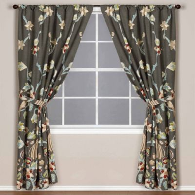 World Market® Pakshi Bird Lined Rod Pocket 84-Inch Window Curtain Panel in Grey