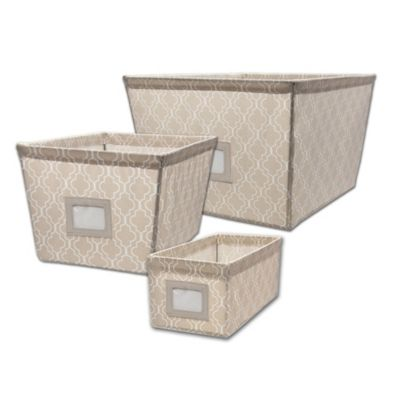 Small Canvas Tote Bin in Trellis