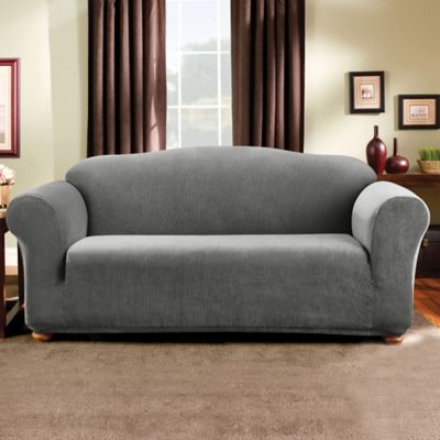 Madison Stripe Sofa Slipcover in Brown