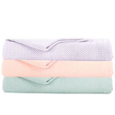 IMAN HOME 2-Color Yarn-Dyed Twin Blanket in Lilac