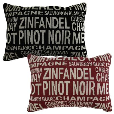 "The Vintage House by Park B. Smith® ""Merlot"" Tapestry Oblong Throw Pillow in Black"
