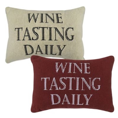 "The Vintage House by Park B. Smith® ""Wine Tasting"" Tapestry Oblong Throw Pillow in Natural"