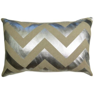 The Vintage House by Park B. Smith® Chevron Foil Oblong Throw Pillow in Linen
