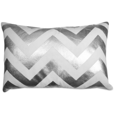 The Vintage House by Park B. Smith® Chevron Foil Oblong Throw Pillow in White