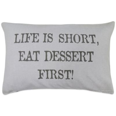 "Dessert First"" Oblong Throw Pillow Decorative Pillows"