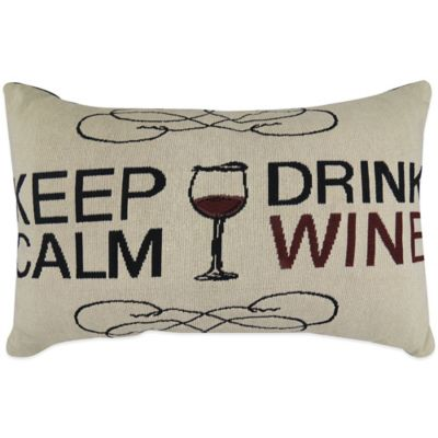 """The Vintage House by Park B. Smith® """"Keep Calm Drink Wine"""" Tapestry Oblong Throw Pillow"""