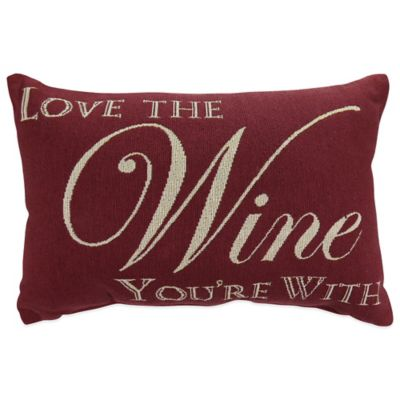"The Vintage House by Park B. Smith® ""Love Your Wine"" Tapestry Oblong Throw Pillow"