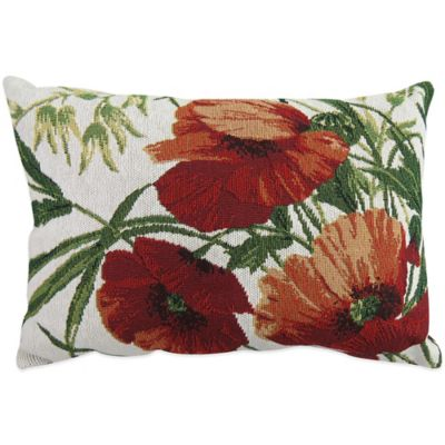 Poppies Tapestry Oblong Throw Pillow