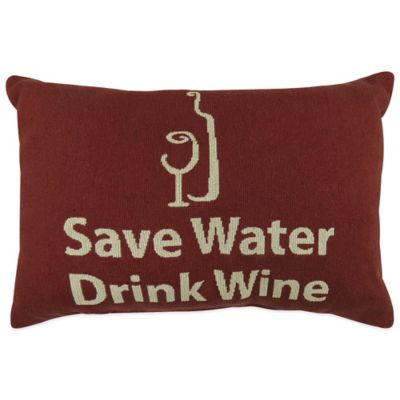 """The Vintage House by Park B. Smith® """"Save Water Drink Wine"""" Tapestry Oblong Throw Pillow"""