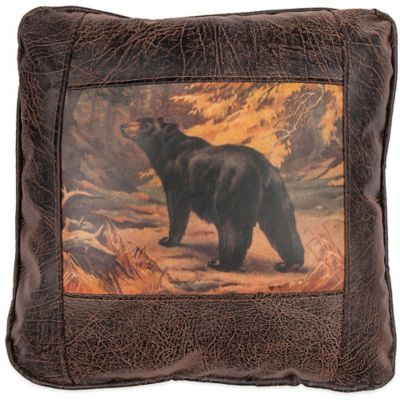 Sweetwater Trading Company Black Bear Square Throw Pillow in Brown
