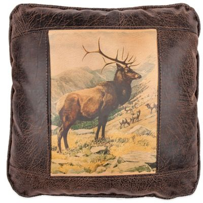Sweetwater Trading Company Elk Herd Square Throw Pillow in Brown
