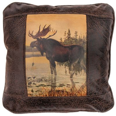 Sweetwater Trading Company Moose in Water Square Throw Pillow in Brown