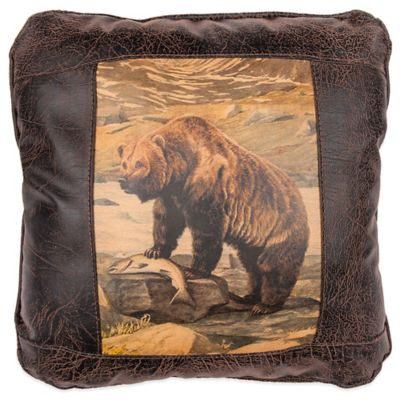 Sweetwater Trading Company Grizzly Bear Square Throw Pillow in Brown