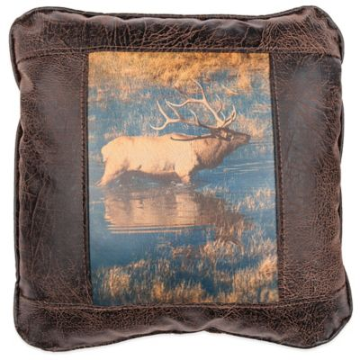 Sweetwater Trading Company Bull Elk Square Throw Pillow in Brown