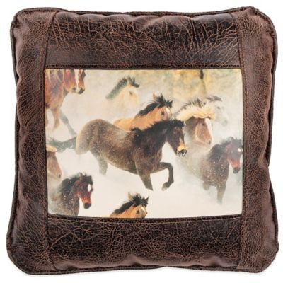 Sweetwater Trading Company Horses in Snow Square Throw Pillow in Brown