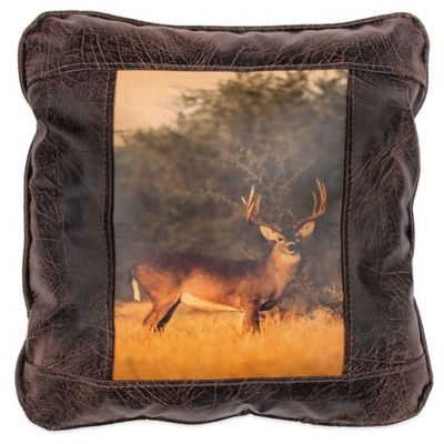 Sweetwater Trading Company White Tail Deer Square Throw Pillow in Brown