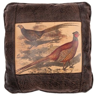 Sweetwater Trading Company Pheasants Square Throw Pillow in Brown