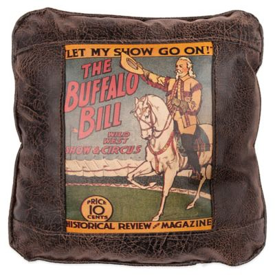Sweetwater Trading Company Buffalo Bill Circus Poster Square Throw Pillow in Brown