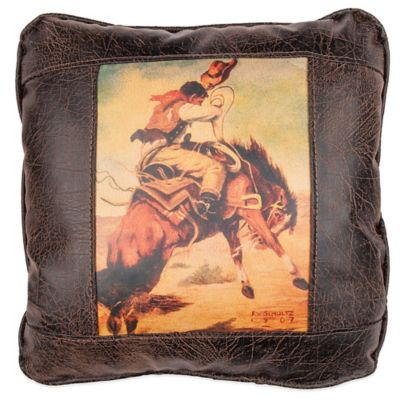 Sweetwater Trading Company Buckin' Bronco Square Throw Pillow in Brown