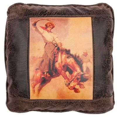 Sweetwater Trading Company Bronco Gal Square Throw Pillow in Brown