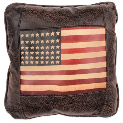 Sweetwater Trading Company Navaho American Flag Square Throw Pillow in Brown