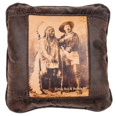 Sitting Bull Square Throw Pillow in Brown